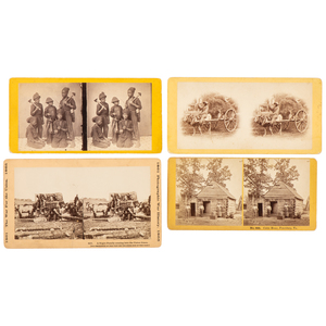 Four Stereoviews with African American Subject Matter, Incl. Chimney Sweeps and the Arrival of Former Enslaved People at a Union Camp