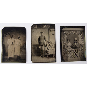 Occupational and Patriotic Tintypes of African Americans, Lot of Three