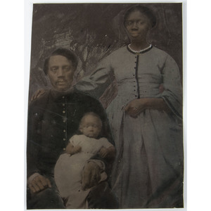 Half Plate Hand-Painted Tintype of an African American Soldier with his Family