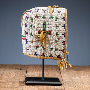 Sioux Child's Beaded Hide Bonnet, From the Collection of Nick and Donna Norman, Colorado