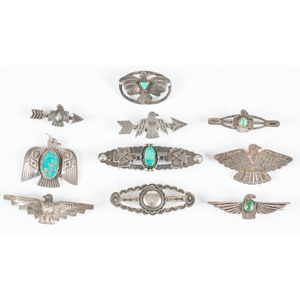 Fred Harvey Era Silver and Turquoise Pins / Brooches, with Thunderbirds and Arrows