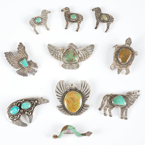 Navajo Silver and Turquoise Pins / Brooches, Animals