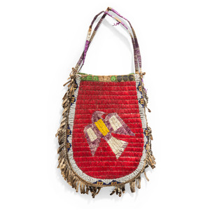 Eastern Sioux Quilled Hide Bag, with Dove and Upside-Down American Flags, From the Collection of Nick and Donna Norman, Colorado