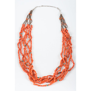 Pueblo Multi-Strand Coral, Heishi, and Turquoise Necklace