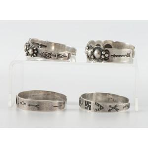 Fred Harvey Era Stamped Silver Cuff Bracelets
