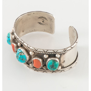 Navajo Silver Cuff Bracelets, with Inlay