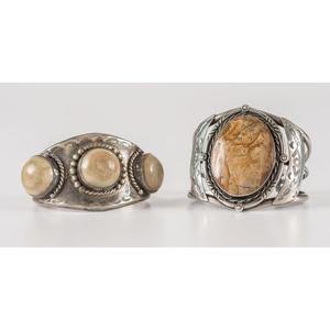 Navajo Silver, Desert Jasper, and Agate Cuff Bracelets