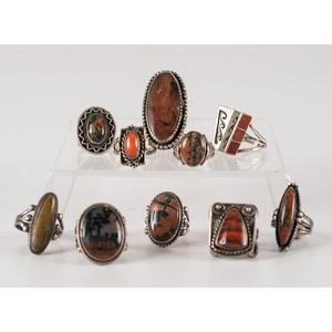 Navajo Silver, Coral, and Petrified Wood Rings