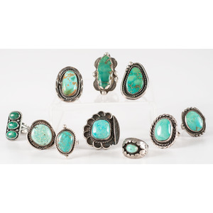 Assortment of Navajo Silver and Turquoise Rings
