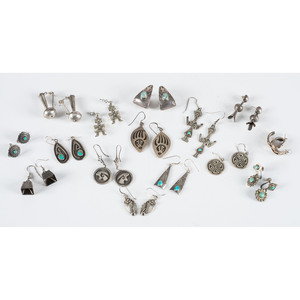Navajo and Hopi Silver Post, Hook, and Screwback Earrings