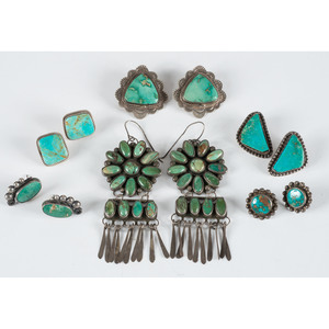 Navajo Silver and Turquoise Post and Hook Earrings