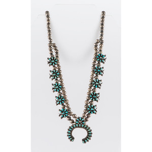 Zuni Child's Petit Point Turquoise and Silver Squash Blossom Necklace