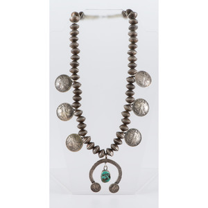 Navajo Mercury Dime, Liberty Half Dollar, and Turquoise Squash Blossom Necklace