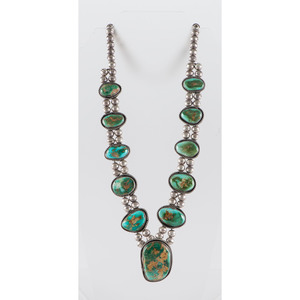 Navajo Silver and Royston Turquoise Necklace