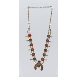Gloria Acque (Zuni, 20th century) Child's Petit Point Coral and Silver Squash Blossom Necklace