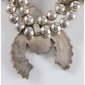 Gloria Acque (Zuni, 20th century) Child's Petit Point Coral and Silver Squash Blossom Necklace