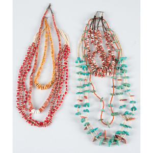 Pueblo Heishi, Coral, Spiny Oyster, and Turquoise Necklaces