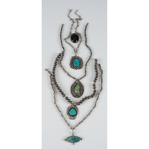 Navajo and Hopi Silver and Turquoise Necklaces AND A Hopi Pin