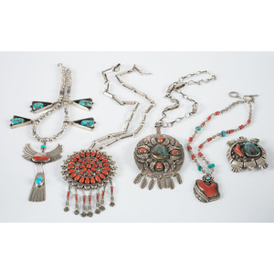 Navajo Silver, Coral, and Turquoise Necklaces AND Pin