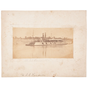 USS Louisville, Albumen Photograph of Brown Water Navy Gunboat
