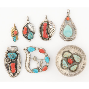 Navajo and Zuni Silver, Turquoise, and Coral Pendants and Pin