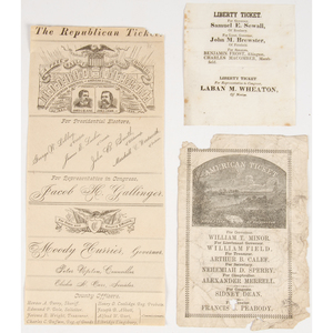 Complex Collection of 19th Century Political Ballots, Incl. Scarce Examples from the American (Know Nothing) and Liberty Parties, Among Others