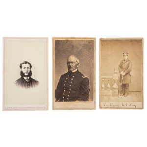 Three CDVs of Brown Water Navy Officers, Incl. Josiah Benton, USS Osage