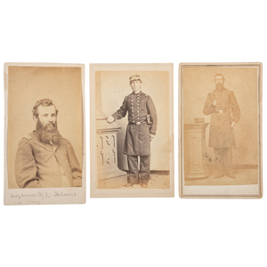 Three CDVs of Identified Naval Officers, Incl. Benjamin Labree, USS Arkansas