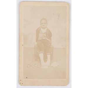 CDV of Nathan T. Burrows Writing with His Feet, ca 1870s