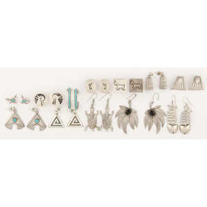 An Assortment of Navajo, Zuni, Hopi, and Mexican Silver Earrings