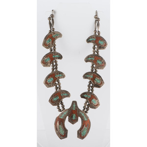 Navajo Silver Squash Blossom Necklace, with Turquoise and Coral Chip Inlay Thunderbirds