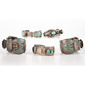 Navajo Silver and Turquoise Cuff Watch Bands