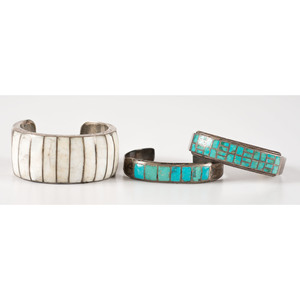 Zuni Silver, Turquoise, and Shell Channel Inlay Cuff Bracelets