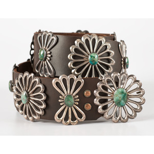 Navajo Sandcast Silver and Turquoise Concha Belt