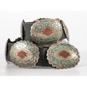 Raymond Scott (Diné, 20th century) Navajo Silver, Turquoise, and Coral Chip Inlay Concha Belt