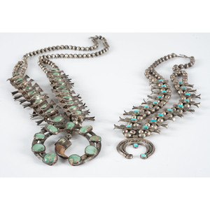 Navajo Silver and Turquoise Box Bow Squash Blossom Necklaces
