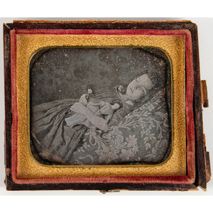 Lot of 7 Sixth Plate Daguerreotype Portraits, Incl. Postmortem Image of Young Girl with Doll