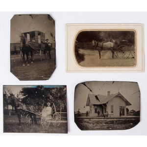 Assorted Outdoor Tintypes Incl. Irregular Whole and Half Plate Examples, Lot of 9