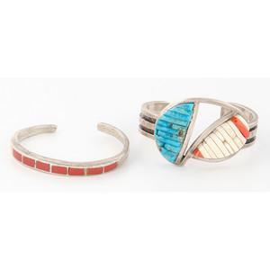 Pete Sierra (Dine, 20th century) Navajo Cobblestone Inlay Cuff Bracelet PLUS