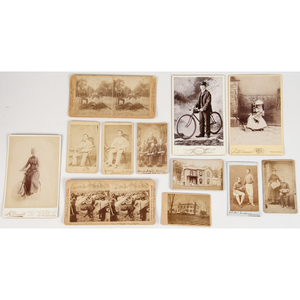 Ecclectic Assortment of 19th Century Photography Featuring Subjects with Musical Instruments, Bicyclists, Western Scenes, and More, Lot of 70+
