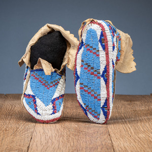 Sioux Child's Fully Beaded Hide Moccasins, From the Stanley B. Slocum Collection, Minnesota