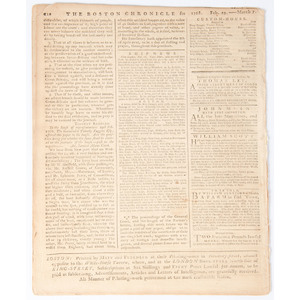 Boston Chronicle March 7, 1768, Containing One of John Dickinson's