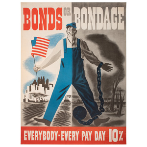 WWI and WWII Propaganda Posters Promoting Liberty Loans, War Stamps, Military Production, and More