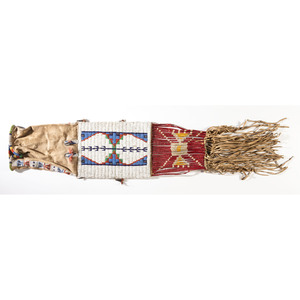 Sioux Beaded Hide Tobacco Bag, From the Stanley B. Slocum Collection, Minnesota