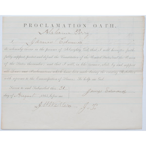 Civil War Amnesty Oath Issued to an Alabama Citizen, 1865