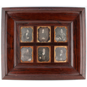 Daguerreian Wall Frame with Sixth Plate Daguerreotypes of Young Men and Women