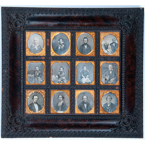 Daguerreiean Wall Frame Containing Twelve Sixth Plate Daguerreotypes of Men, Women, and Young Boys