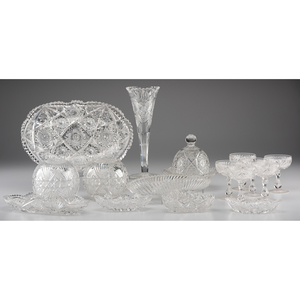 A Group of Cut Glass Vases and Tablewares
