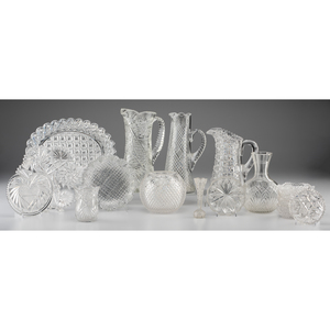 A Group of Cut Glass Vases, Pitchers and Other Tablewares