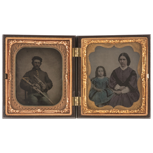 Sixth Plate Tintype and Ambrotype Featuring Triple Armed Cavalryman and Family